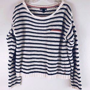 Tommy Hilfiger Striped Chunky Knit Sweater Large